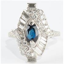 Stunning Vintage 1940's 18k White Gold Sapphire & Diamond Cocktail Ring 1.83ctw