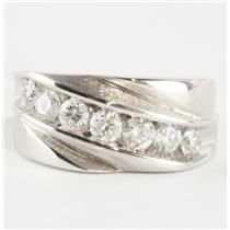 "Fine 10k White Gold Round Cut ""H"" Diamond Seven-Stone Band / Ring 1.0ctw"