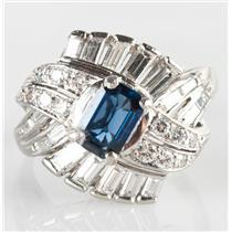 Stunning Vintage 1940's Platinum Sapphire & Diamond Cocktail Ring 2.31ctw