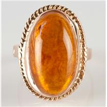 Vintage 1950's 14k Yellow Gold Oval Cabochon Cut Amber Solitaire Ring 14.0ct