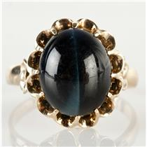 Vintage 1970's 18k Yellow Gold Oval Cabochon Cut Tiger Eye Solitaire Ring 3.5ct