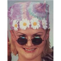 60's Tie Dye Daisy Bandana with Peace Sign Hippie Glasses Costume Accessory Kit