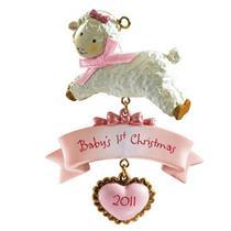 Carlton American Greetings Ornament 2011 Babys First Christmas Girl AXOR011Z-SDB