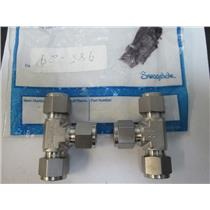 "(2) Swagelok  316L-600-3  316L Swagelok Tube Fitting, Union Tee, 3/8"" Tube OD"
