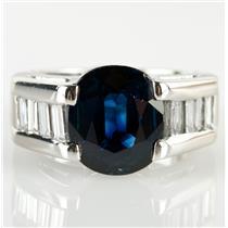 Stunning 14k White Gold Oval Cut Sapphire & Diamond Cocktail Ring 3.1ctw