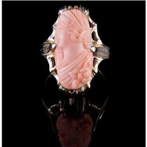 """Vintage 1930's 10k Yellow Gold Oval Cut """"AAA"""" Coral Female Bust Cameo Ring"""