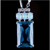 Vintage 1970s Platinum Emerald Cut Aquamarine / Opal / Diamond Necklace 19.14ctw
