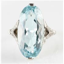 Vintage 1925 14k White Gold Oval Cut Aquamarine & Diamond Cocktail Ring 12.64ctw