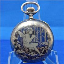 Early 20th Century Pocket Watch W/ RARE Niello Case