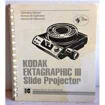 KODAK EKTAGRAPHIX III SLIDE PROJECTOR OPERATING MANUAL, USED w/ WARRANTY