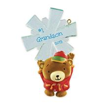 Carlton Heirloom Ornament 2013 Grandson - Teddy Bear with Snowflake - #CXOR018D