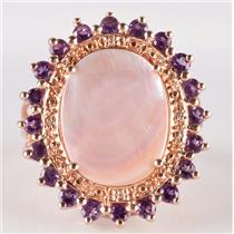 14k Rose Gold Mother Of Pearl / Amethyst / Diamond Cocktail Ring 1.04ctw