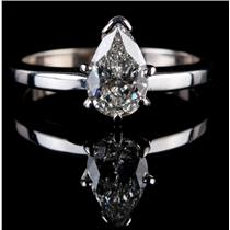 """Stunning 14k White Gold Pear Cut """"G"""" Diamond Solitaire Engagement Ring 1.0ct"""