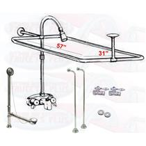 "Chrome Clawfoot Tub Faucet Add-A-Shower Kit W/57"" x 31"" Curtain Rod, Drain & Supplies"