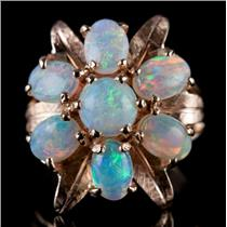 Vintage 1960's 14k Yellow Gold Australian White Opal Floral Cocktail Ring 2.1ctw
