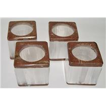 Selenite Mineral Candle Holders (Set of 4) w/ Fossil Rock #2094 6#3o