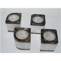 Selenite Mineral Candle Holders (Set of 4) w/ Fossil Rock #209 7#7o