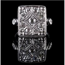 Vintage 1910's Platinum Old Euro Cut Diamond Cluster Cocktail Ring 1.02ctw