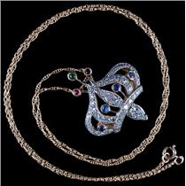 "14k Yellow & White Gold Diamond & Multi-Stone Crown Pendant W/ 18"" Chain 1.3ctw"