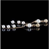 18k Yellow Gold Round Cut Cultured Pearl Multi-Strand Dangle Earrings
