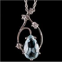 14k White Gold Pear Cut Aquamarine & Diamond Pendant W/ 18' Chain 1.62ctw