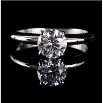 Stunning 14k White Gold Round Cut Diamond Solitaire Engagement Ring 1.10ct