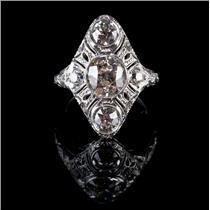 Vintage 1900's 18k White Gold Three-Stone Diamond Engagement Ring 2.83ctw