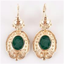 14k Yellow Gold Oval Intaglio Cut Lab Emerald Intaglio Dangle Earrings