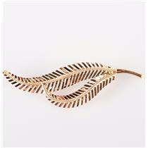 Vintage 1940's 18k Yellow Gold Italian Leaf Style Brooch / Pin 3.88g