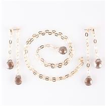 14k Yellow Gold Briolette Cut Smokey Quartz Dangle Earring & Necklace Set
