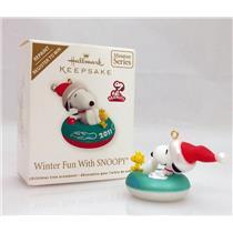 Hallmark Repaint Miniature Ornament 2011 Winter Fun With Snoopy #14 QXM9117C-SDB