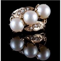 Vintage 1930's 14k Yellow Gold Round Cut Natural Cultured Pearl Cocktail Ring