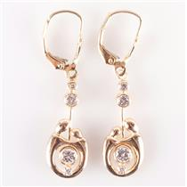 14k Yellow Gold Round Cut Diamond Mother Style Dangle Earrings .604ctw