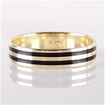 14k Yellow Gold Double Stripped Black Enamel Band / Ring 3.1g