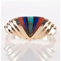 Custom Hand-Made 14k Yellow Gold Coral / Lapis / Onyx / Turquoise Inlay Ring
