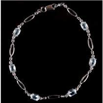 10k White Gold Oval Cut Aquamarine & Round Cut Diamond Tennis Bracelet 2.41ctw