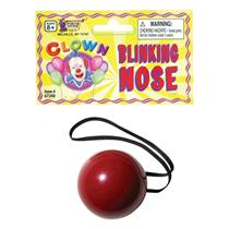Blinking Red Plastic Nose Rudolph Reindeer Christmas Clown Flashing Nose
