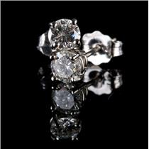 14k White Gold Round Cut Diamond Solitaire Stud Earrings .47ctw