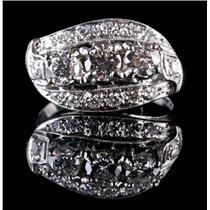 "Vintage 1940's Platinum Round Cut ""G"" Diamond Cocktail Ring 1.27ctw"