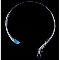 Unique Sterling Silver Cabochon Cut Opal / Amethyst / Ruby Necklace 13.38ctw