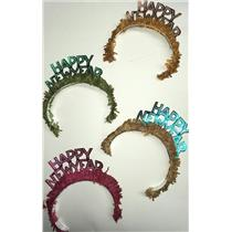 50 Piece Happy New Year Tiaras with Fringe Assorted Colors Party Supply Headwear