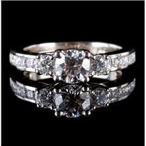 """14k White Gold Round Cut """"G"""" Diamond Three-Stone Engagement Ring 1.13ctw"""