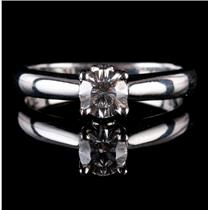Stunning Platinum Round Cut Diamond Solitaire Engagement Ring W/ Accents .56ctw