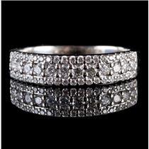 14k White Gold Round Cut Diamond Three-Row Anniversary Ring / Band .58ctw