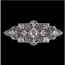 Vintage 1920's 14k White Gold Old European Cut Diamond Filigree Brooch 1.03ctw