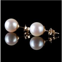 14k Yellow Gold Round Cut Cultured Pearl Solitaire Stud Earrings