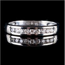 14k White Gold Round Cut Diamond Wedding / Anniversary Band .23ctw