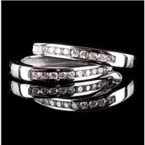 14k White Gold Round Cut Diamond Hinged Hoop Earrings .20ctw