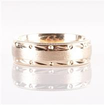14k Yellow Gold Textured / Engraved Band 7.6g Size 6