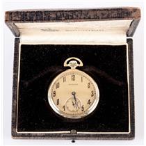 Vintage 1920's 14k Yellow Gold Hamilton Pocket Watch W/ Original Box & Papers